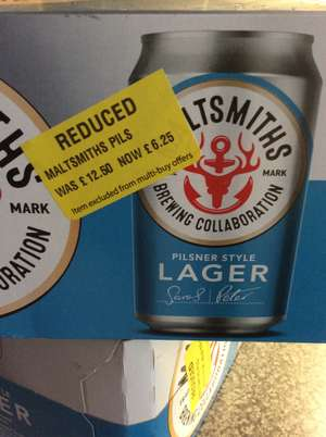 Maltsmiths Pilsner style Lager case of 12 x 330ml cans £6.25 instore @ Morrisons Lichfield