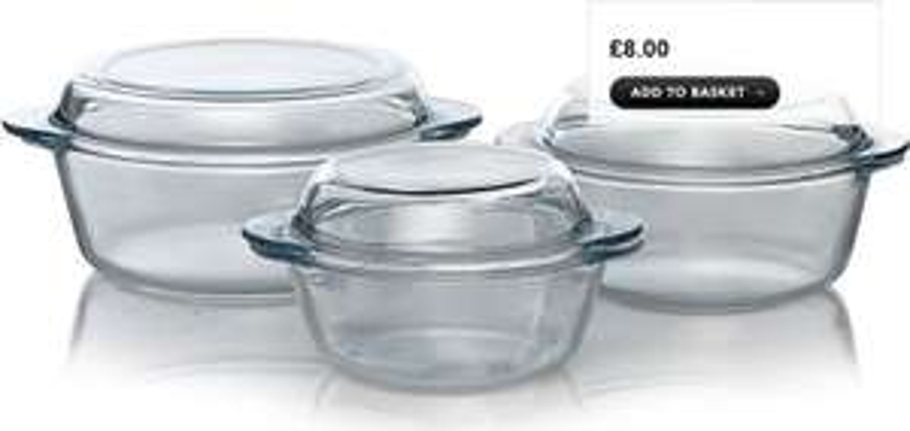 3 Piece Glass Casserole Dish Set - £8 @ Asda