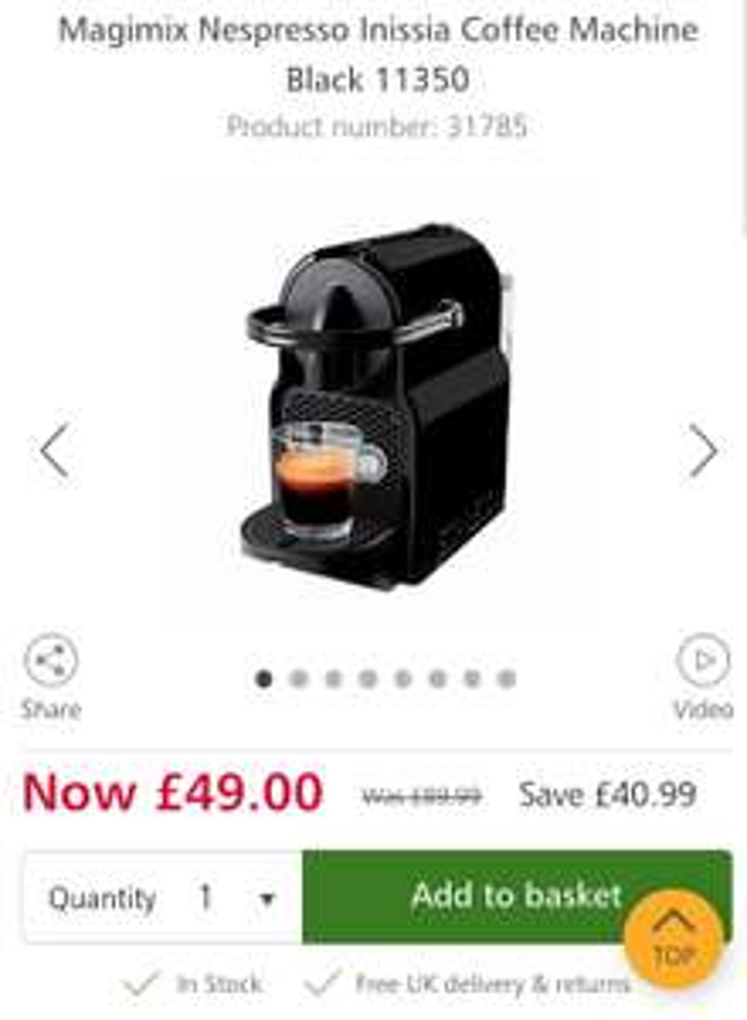 Lakeland-Magimix Nespresso Inissia Coffee Machine £49