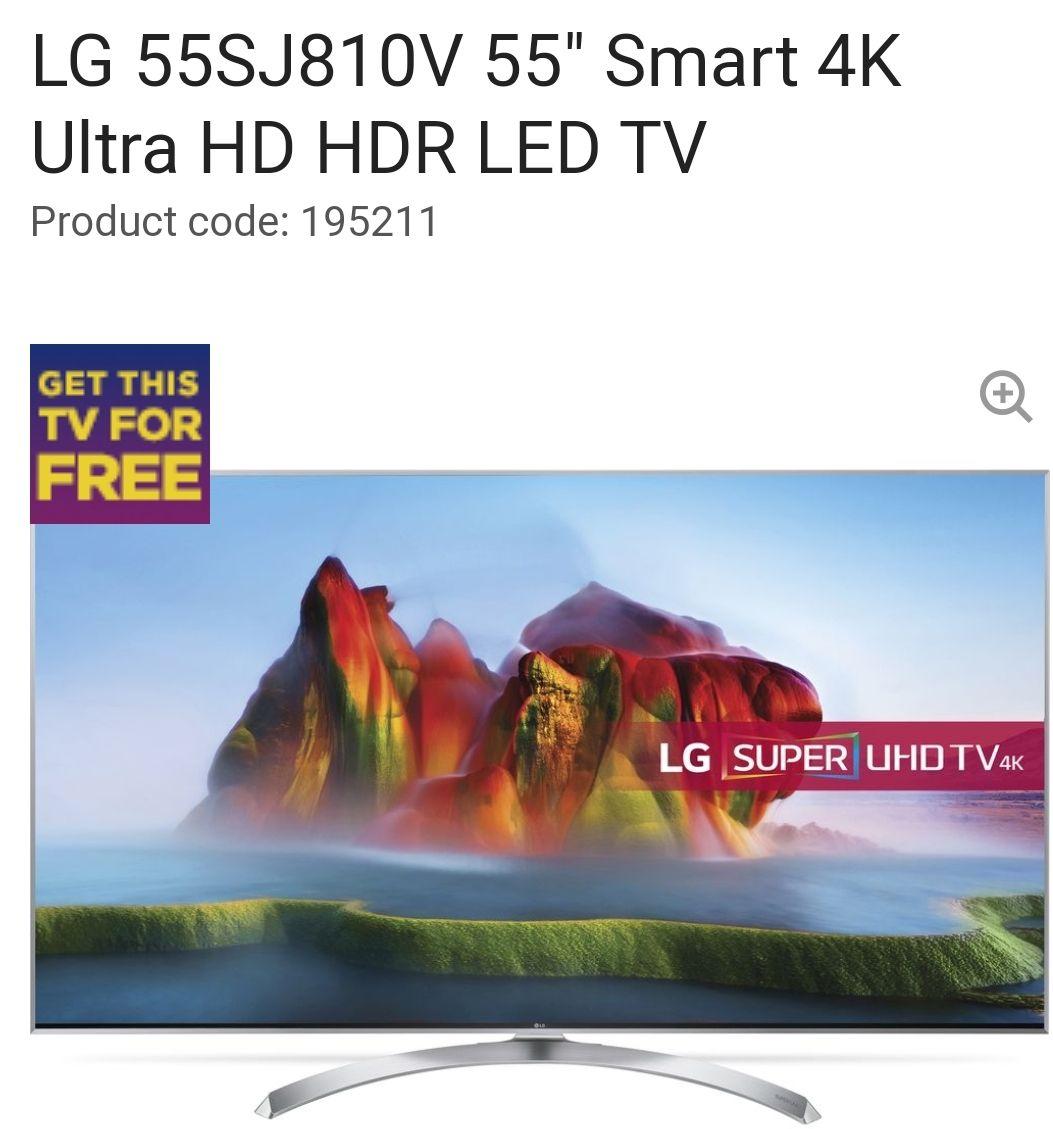 """LG55SJ810V 55"""" Smart 4K Ultra HD HDR LED TV £659 Currys"""
