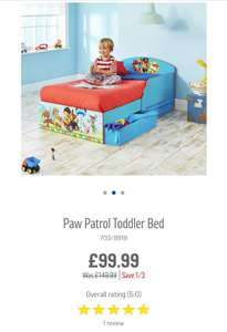 PAW PATROL Toddler Bed @ Argos was £149.99 now £99.99