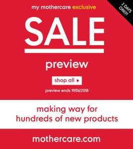 Mothercare summer sale preview for My Mothercare members - half price cots, pushchairs, clothes and maternity