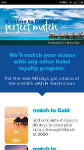 Free Hilton status match to other hotels, e.g. IHG