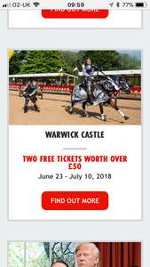 Two FREE Warwick Castle tickets via Sun papers