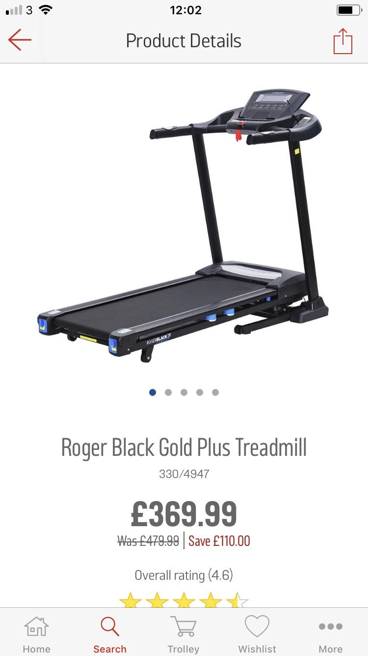 Roger Black Gold Plus Treadmill £110 OFF! £369.99 at Argos