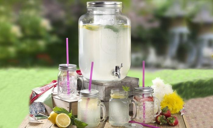Swan 8L Glass Beverage Dispenser Set with 4 Mason Jars £14.58 delivered w/code at Groupon