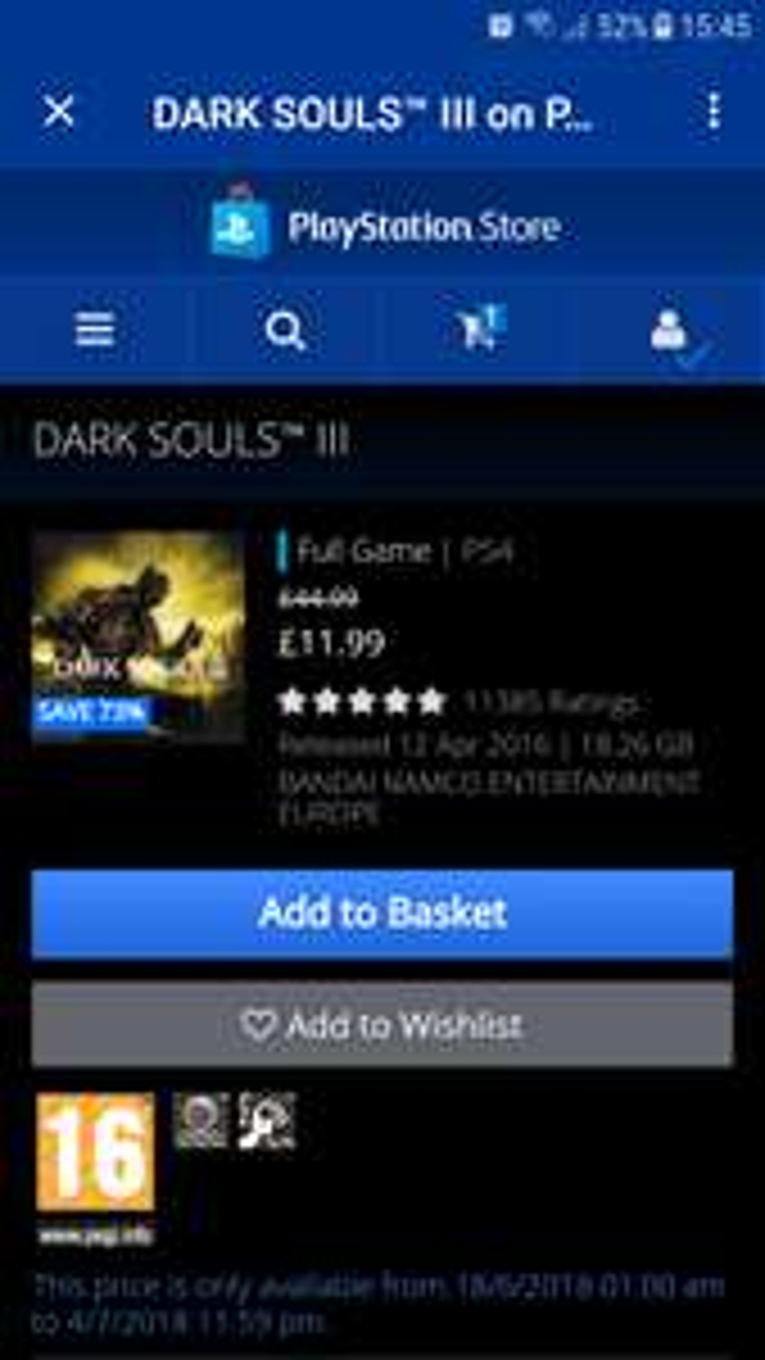 Dark Souls 3 £11.99 @ PSN