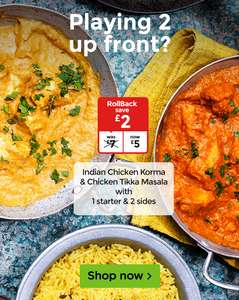 Indian takeaway meal deal for 2 including 2 curries, pilau rice, naan breads and onion bhajis was £7 now £5 @ Asda