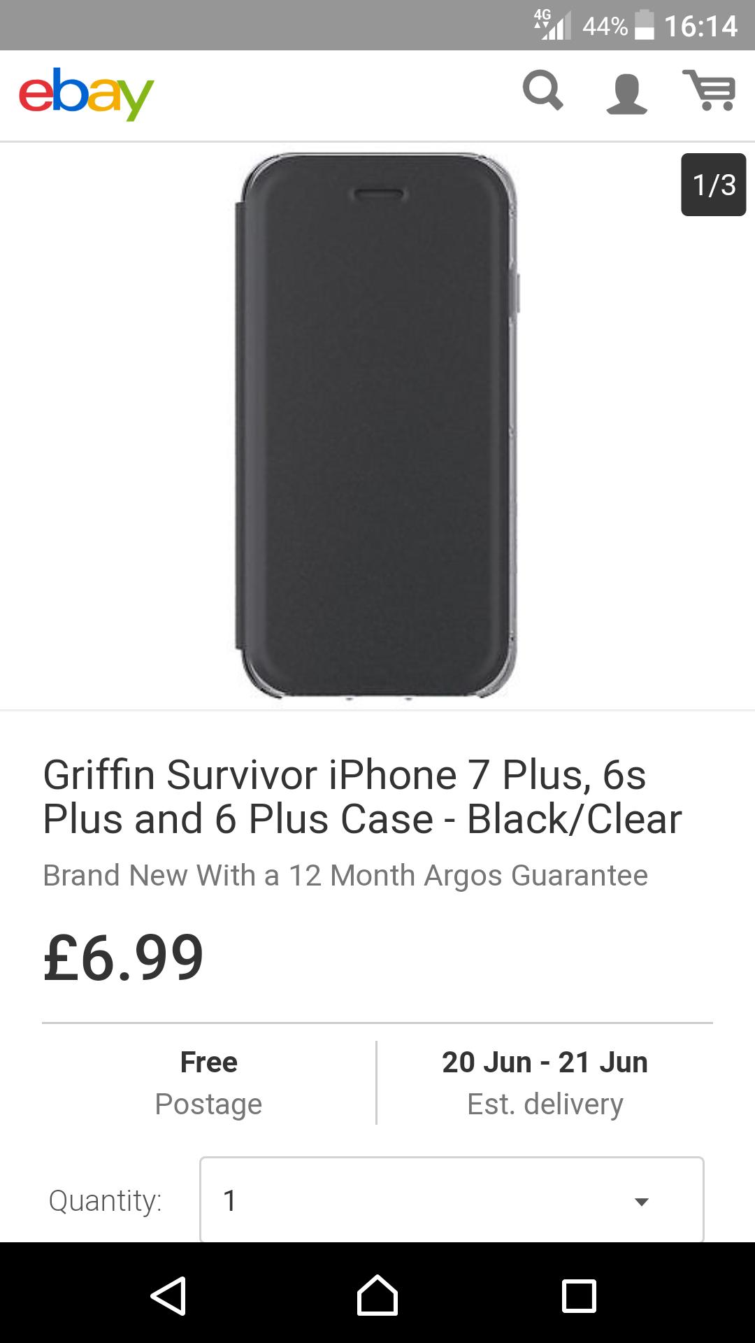 Griffin survivor iPhone 7 plus, 6s plus, and 6 plus case black / clear £6.99 @ argos ebay