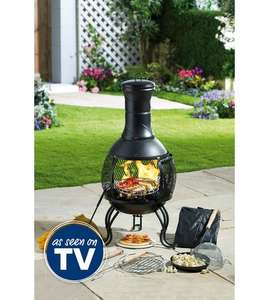 10 Piece steel Chiminea - Great for heat or cooking (Pizza stone, cooking grill, Popcorn lid, all included) with cover £64.98 Delivered @ Studio