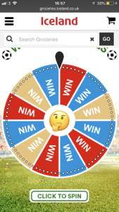 Iceland upto £10 off spin the wheel