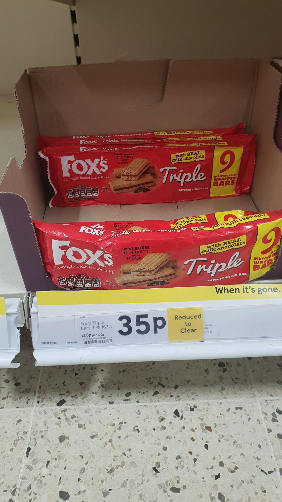 Fox's triple layered chocolate 35p instore @ Tesco