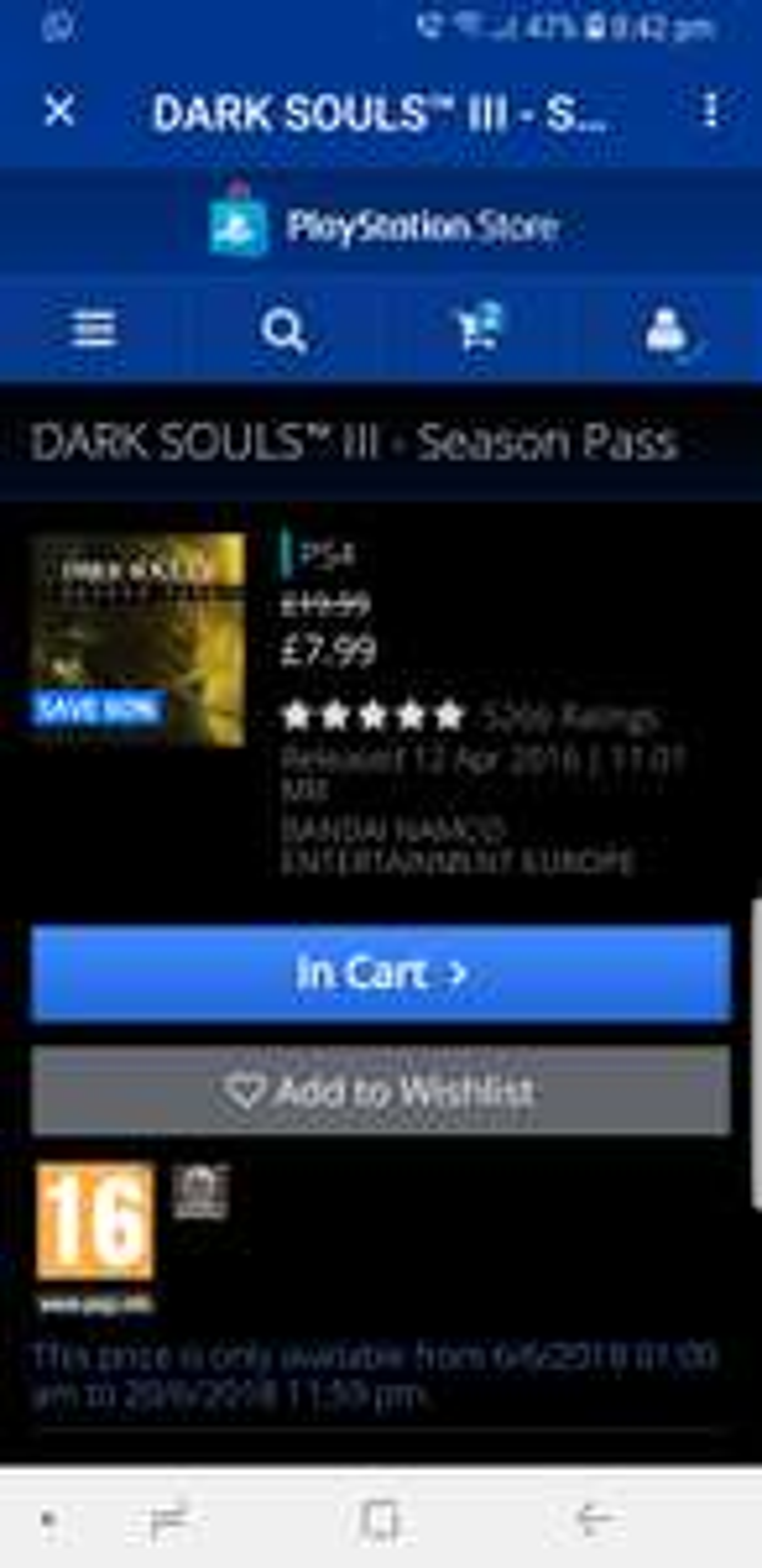 Dark souls 3 psn season pass £7.99