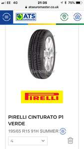 Pirelli 195x65x15 Tyre offer 4 for £183.96 or 2 for £91.98  (£45.99 each) at ATS Fully Fitted