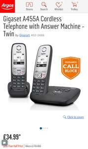 Telephones - Up to 50% off @ Argos e.g Gigaset A455A Cordless Telephone with Answer Machine - Twin was £79.99 now £34.99