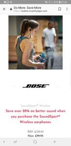 Bose Soundsport Bluetooth £99.95 in-store at bose outlet in ashford