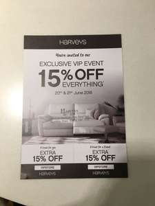 HARVEYS EXCLUSIVE VIP EVENT - 15% off everything in Enfield store