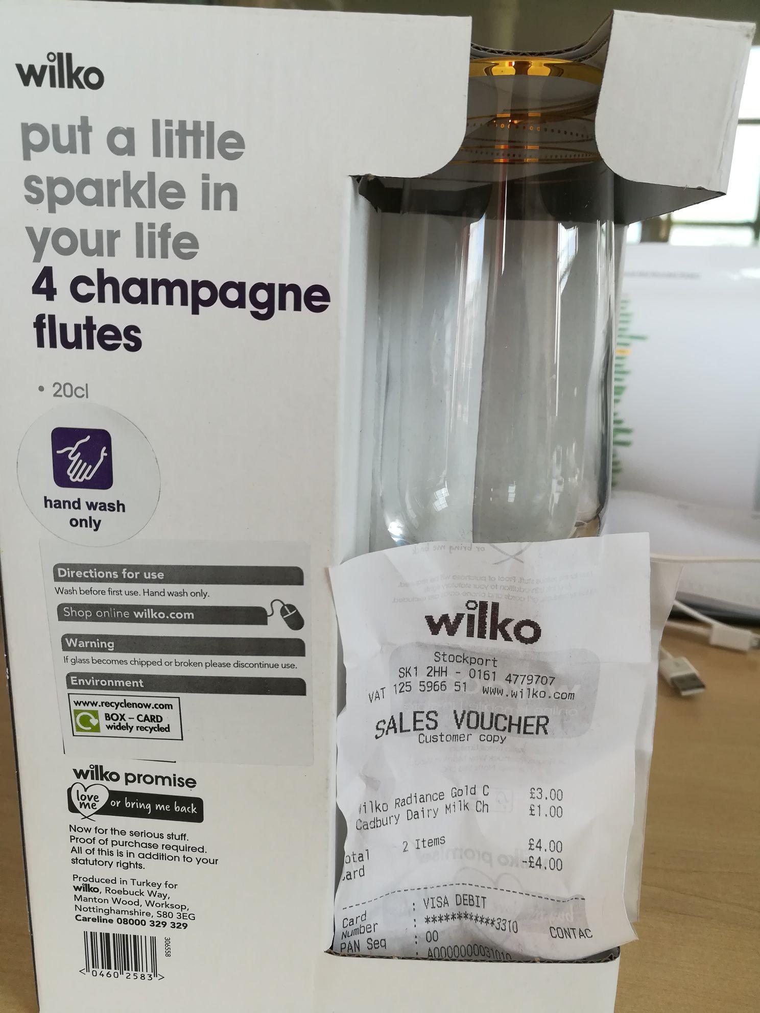 Champagne/lambrini flutes £3 for 4 @ wilko - Stockport