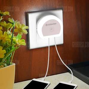 Alfawise HTV - 777 Night Light Adapter 5V 1A 2 USB Ports Charger in White EU Plug now 77p Delivered w/code @ GearBest