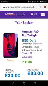 Huawei p20 pro twilight ee max including bt sports duration of contract and 6 months apple music. £10 off code active 8gb data - unlimited minutes / texts 24 months £803 @ Affordable mobiles (£40 quidco cashback available bringing price to £753)