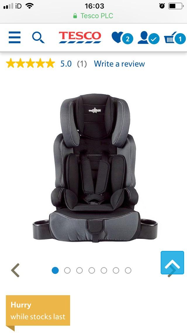 Cozy N Safe Group 1-2-3 Car Seat, Black £27.50 @ Tesco