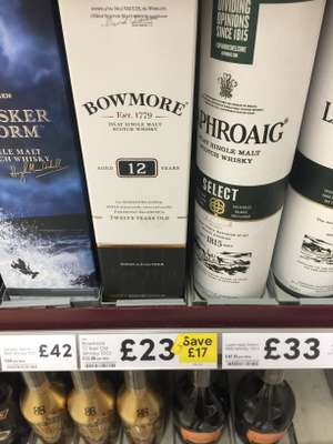 Bowmore 12 year old single malt Whisky - Tesco for £23