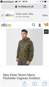 New Peter Storm Mens Packable Cagoule Outdoor Clothing Khaki green £16 (or Red)  delivered at eBay with code party20 seller blacks outlet festival season ???