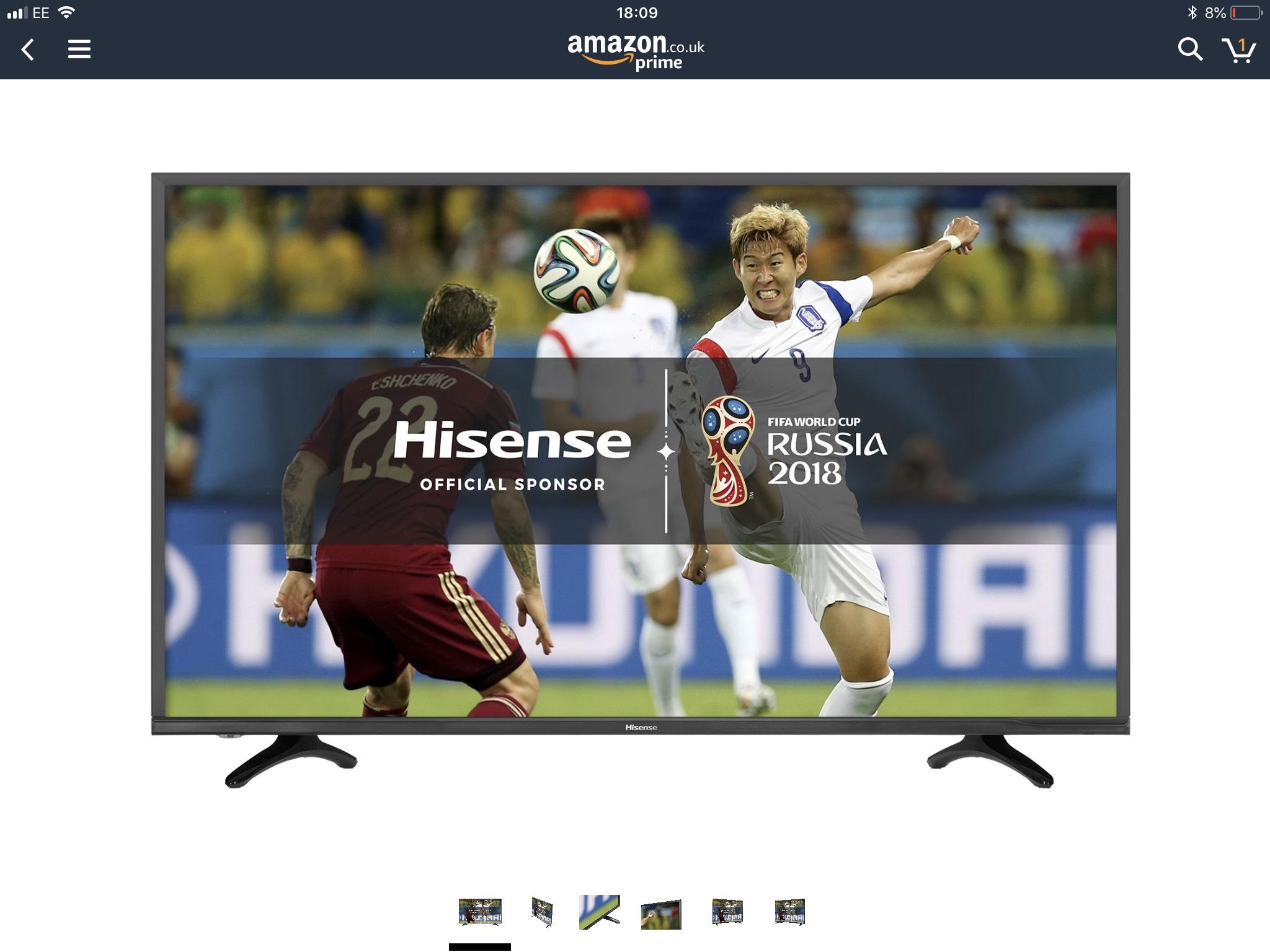 Hisense H43N5500UK 43inch 4K UHD Smart TV - Black (2017 Model) @ Amazon - £246.39