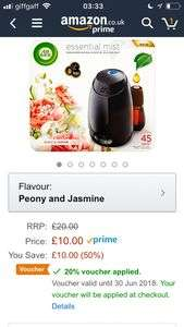 Air Wick Mist Diffuser, Essential Oils Peony and Jasmine, Gadget and 1 Refill £8 Prime / £12.49 Non Prime @ Amazon