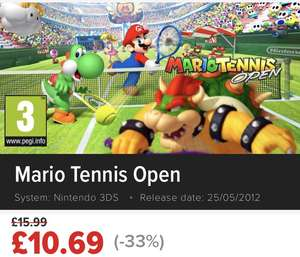 Mario tennis open (3ds) £10.66, Super Smash bros. (3ds) £26.69, New Super Mario bros 2 (3ds) £26.69, Fire emblem awakening (3ds) £26.69 @ nintendo eshop uk