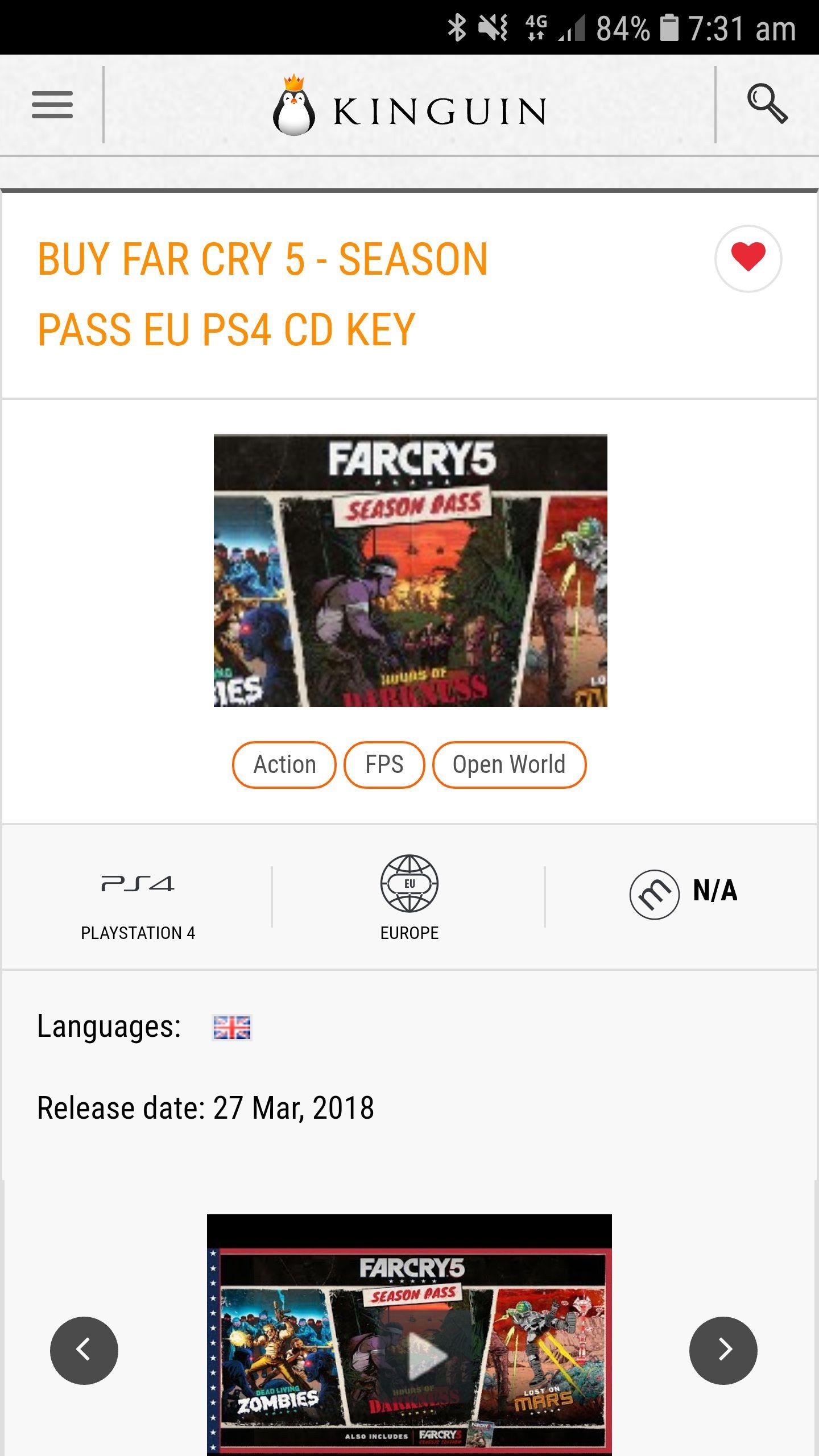 Far cry 5 season pass ps4 £12.58 at  Kinguin