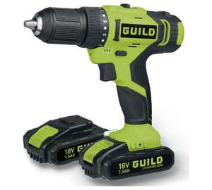 Guild 18v li-ion cordless drill with 2 x 1.5Ah batteries at Argos for £39.99