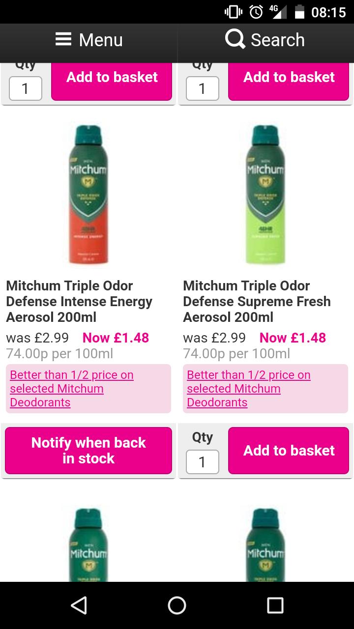 Mitchum deodorants men's and woman's better than half price £1.48 Superdrug