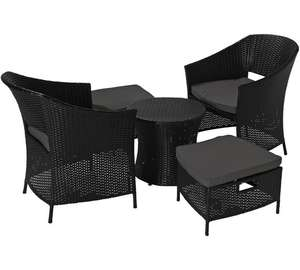 HOME 2 Seater Rattan Effect Patio Set with Footstools now £106.94 delivered @ Argos