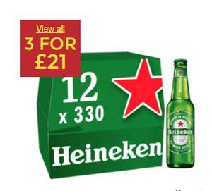 Heineken boxes 3 for £21. Asda.