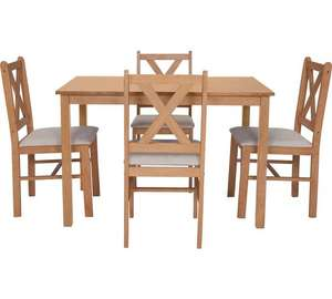 Home Ava solid oak dining table and 4 chairs was £179.99 now £109.99 free C&C or £113.94 delivered @ Argos