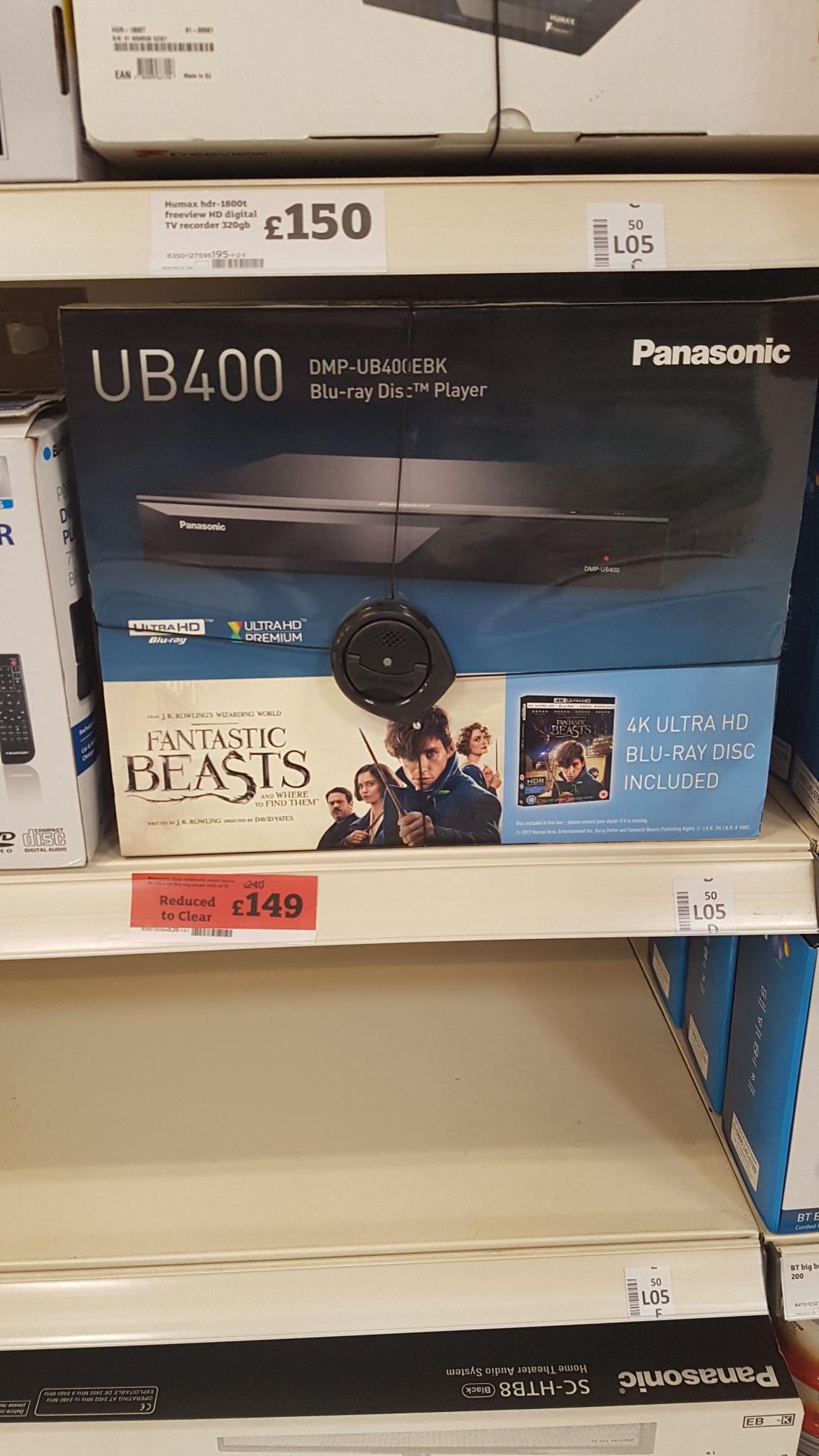 Panasonic  UB400 4K Ultra HD Blu-Ray Player £149 @ Sainsbury's Melton Road, Leicester