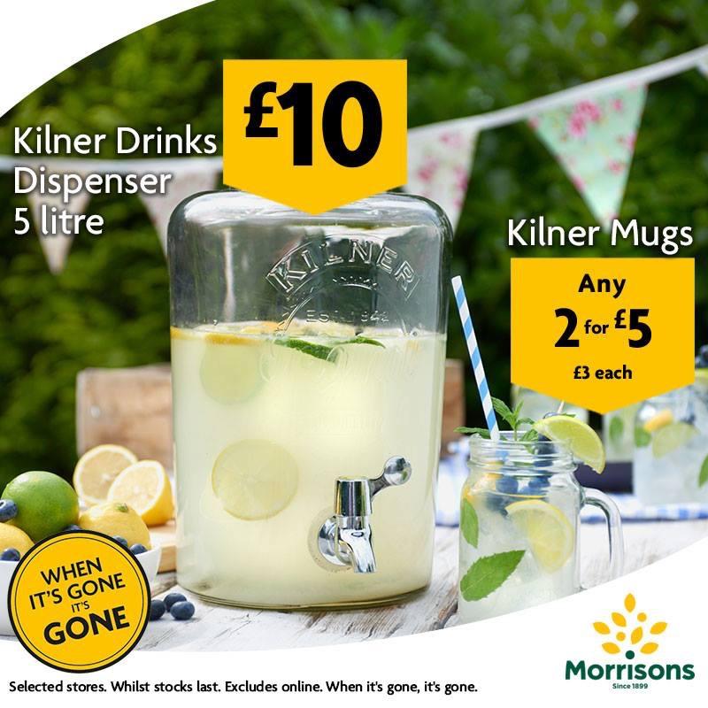 Kilner 5L drinks dispenser with tap £10 and Kilner jar mugs 2 for £5 instore @ Morrisons