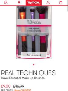Real techniques brush set now £9 at  TK Maxx (+ £1.99 c&c / £3.99 delivery)