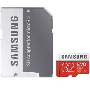 Samsung 32GB Evo Plus Micro SD Card (SDHC) UHS-I U1 + Adapter - 95MB/s-  2 cards for £16 at  MyMemory
