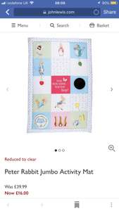 Peter Rabbit baby activity playmat £16 at John Lewis + £2 c&c / £3.50 delivery