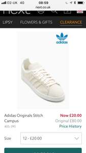 Adidas Originals Stitch Campus neutral CW all men's sizes £20 at Next click n collect