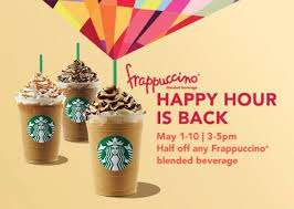 Starbucks happy hour start today at 3pm - 50% off grande or venti Frappuccino drink