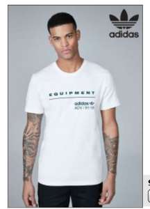 adidas Originals White EQT T-Shirt - Menswear M/L/XL only £7 @ next clearance