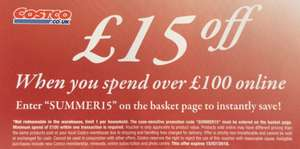 £15 off £100+ at Costco (Online Only) Valid from 25/06 (or before)