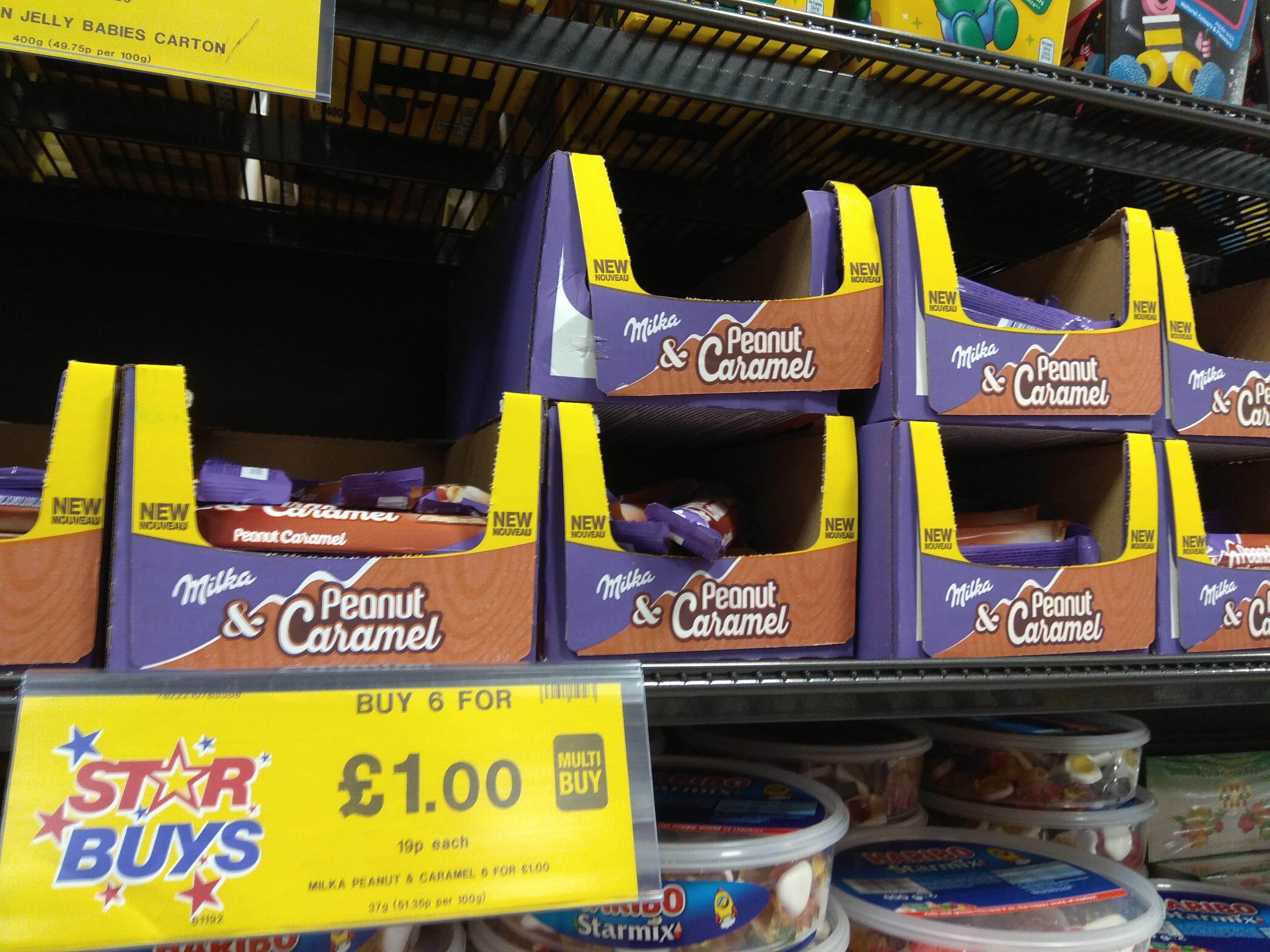 Home Bargains Milka & Peanut Caramel 37g bars 6 for £1
