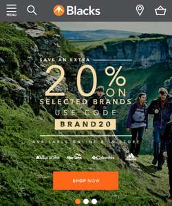 Extra 20% off on selected Brands with Code @ Blacks