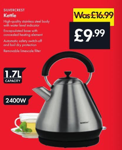 Kettle 2400W - 1.7L capacity - £9.99 - LIDL (Silvercrest)