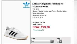 adidas Originals Flashback - Women's white trainer (UK4-9) £23 @ next