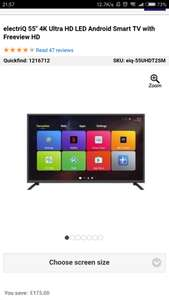 "electriQ 55"" 4K Ultra HD LED Android Smart TV with Freeview HD - £319.97 @ Appliances Direct"